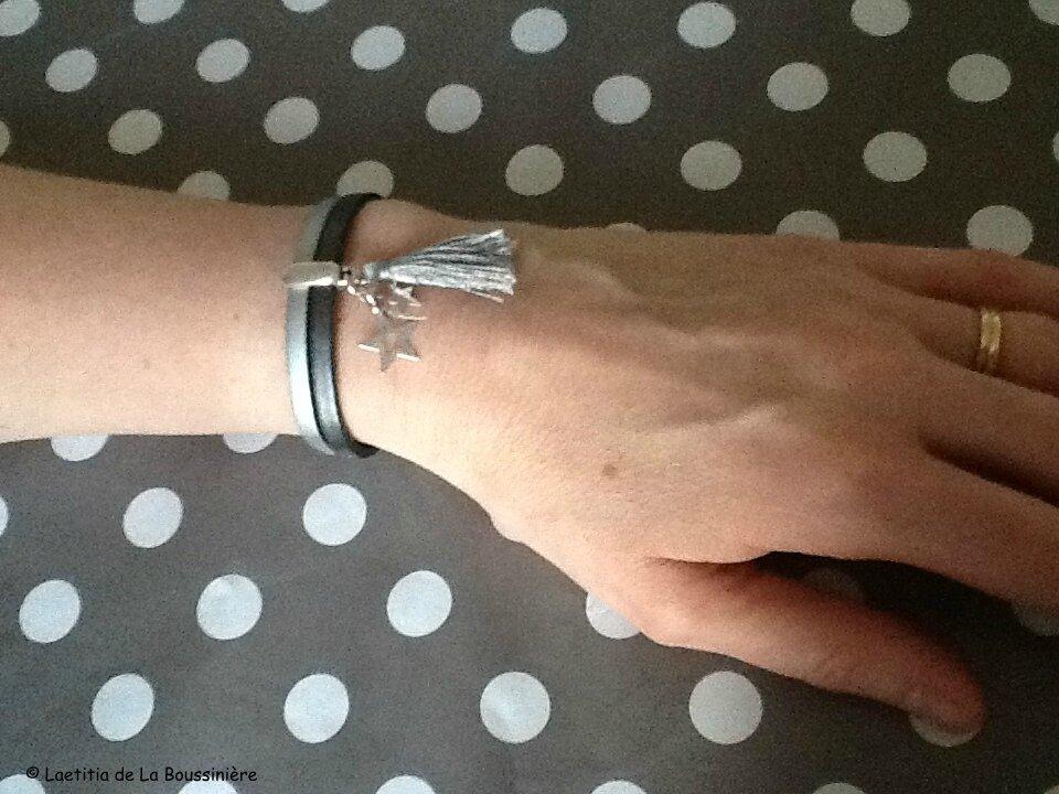 Le bracelet Bicolore cuir de Mme