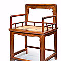 A rare huanghuali low-back arm chair, meiguiyi, 17th/18th century