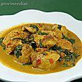Curry de poulet aux épinards