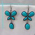 Boucles d'oreilles Style Tibétain Papillon Gawa Perle Et Strass Turquoise Argent du Tibet