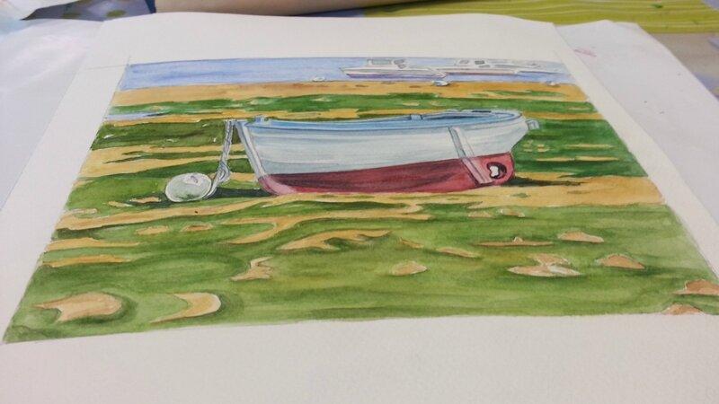 aquarelle modele barque a