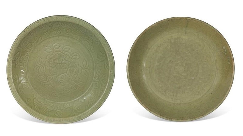 Two large Longquan celadon dishes, Yuan-Ming dynasty (1279-1644)