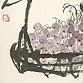 Qi baishi (1864-1957), basket with grapes and some persimons, china, dated 1955
