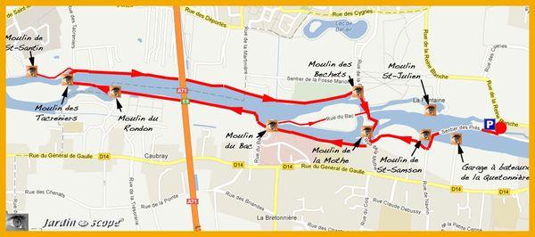 Carte des sentiers des Moulins d'olivet