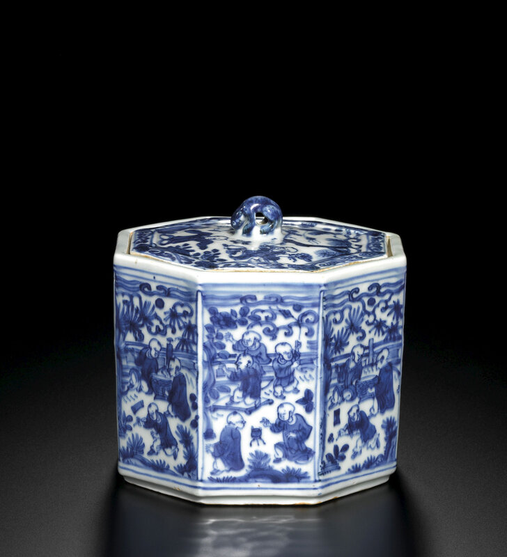 A rare blue and white octagonal 'boys' jar and cover, Mark and period of Wanli