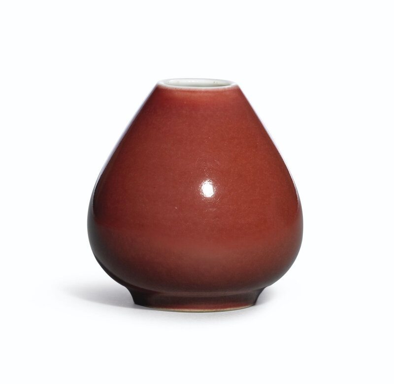 A fine copper-red glazed waterpot, Mark and Period of Yongzheng