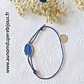 Bracelet Médaille miraculeuse émaillée sur cordon fin (bleu nuit)