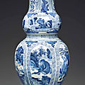 A rare blue and white molded double-gourd vase, kangxi period (1662-1722)