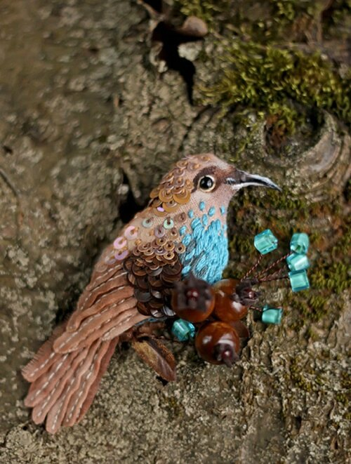 Miniature-brooch-Forest-Bird