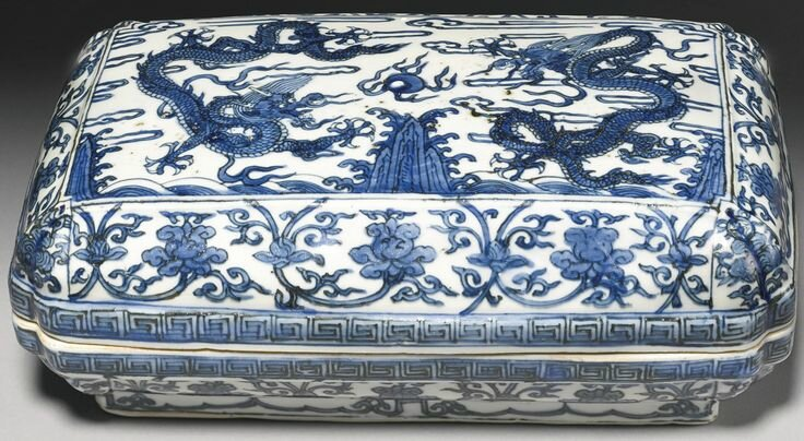 A blue and white 'Dragon' box and cover, Wanli mark and period