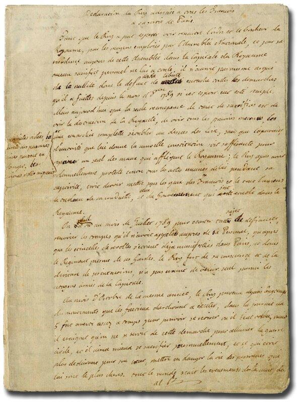 Manuscrit Louis XVI