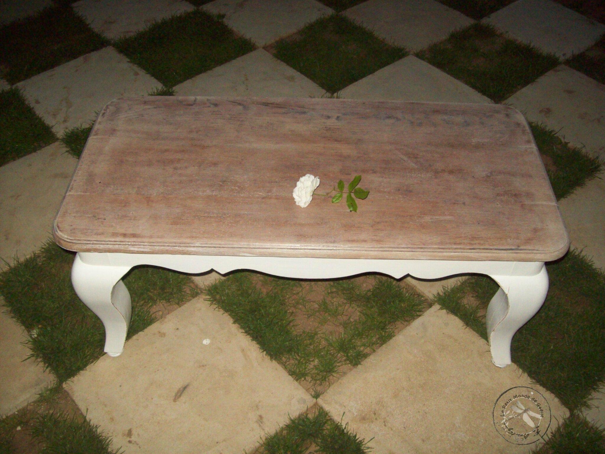 table basse en chêne après