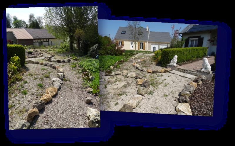 bords de chemin en pierres meulieres