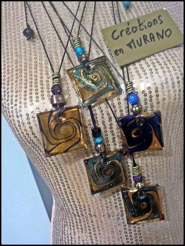 pendentifs en MURANO à 28 € au choix