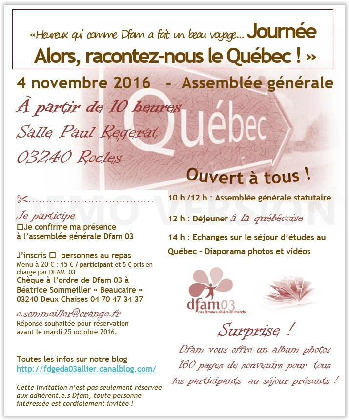 """""""Heureux qui comme Dfam a fait un beau voyage … """" - Assemblée Générale départementale - """"Alors, racontez-nous le Québec !"""