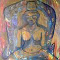 2004 peinture Méditation 100x65 Acrylique sur toile