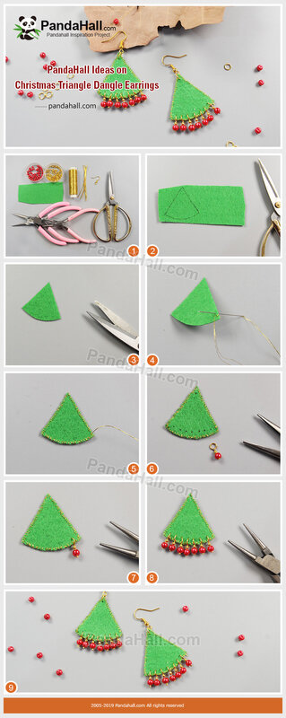 4-PandaHall Ideas on Christmas Triangle Dangle Earrings
