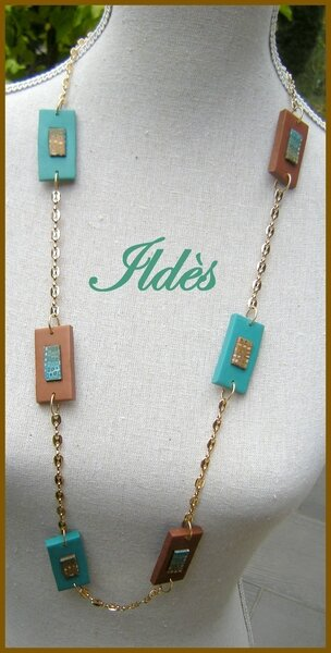 fimo collier pixels turquoise chocolat 2