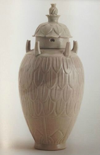 celadon 'Grain' jar and cover, Five Dynasties - Northern Song dynasty
