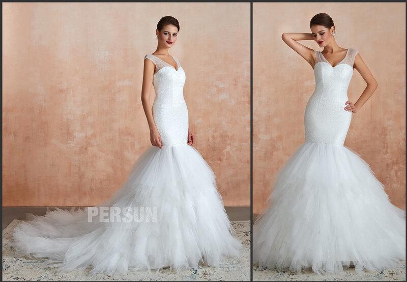 robe de mariée sirène col v bustier pailleté à jupe froufrou