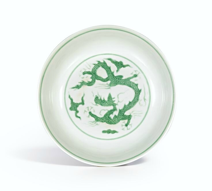 A rare incised green-enamelled 'Dragon' dish, Mark and period of Zhengde
