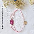 Bracelet Médaille miraculeuse émaillée sur cordon fin (fushia)