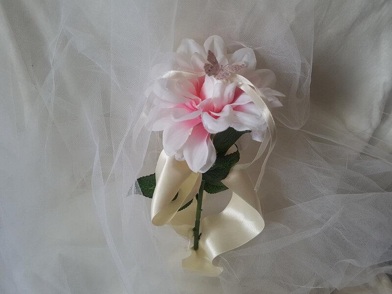 Porte alliances mariage, thème nature, campagne, pivoine, fleur (7)