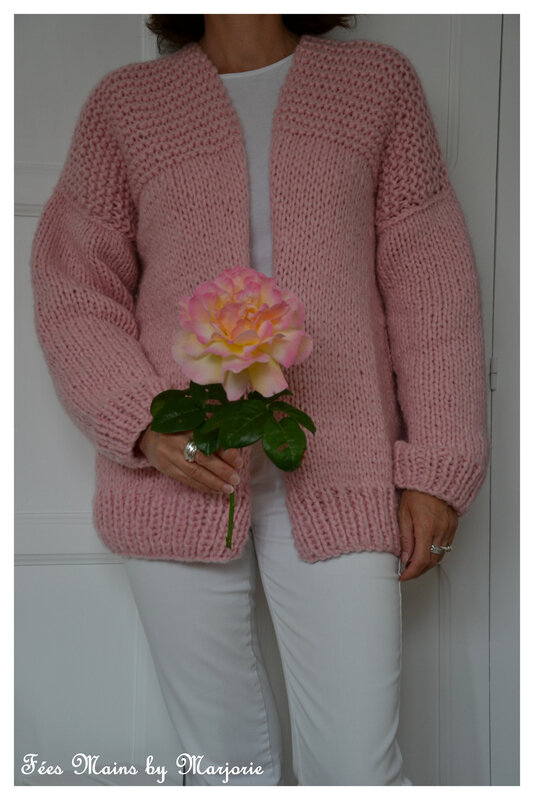 Tricot Gilet rose