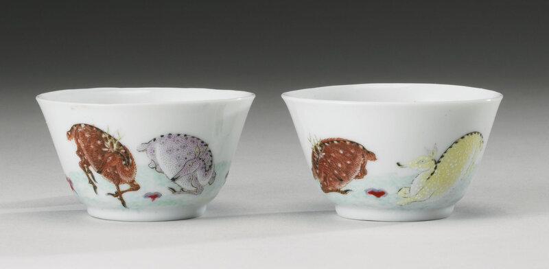 A pair of famille-rose 'deer' winecups, Yongzheng marks and period