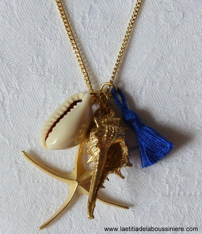 Sautoir Bora-Bora (bleu nuit) détails - 21 €