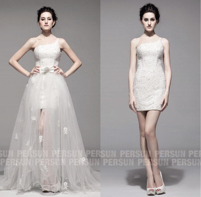 robe mariée encolure asymétrique dentelle avec traîne organza amovible