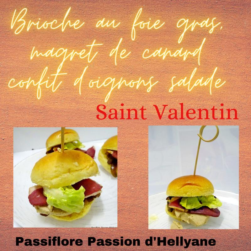 Brioche au foie gras, magret de canard confit d'oignons salade