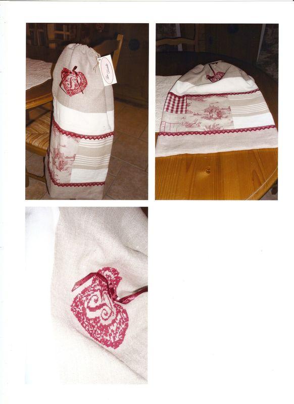 sac doublé drap ancien, broderie main, 35€ vendu