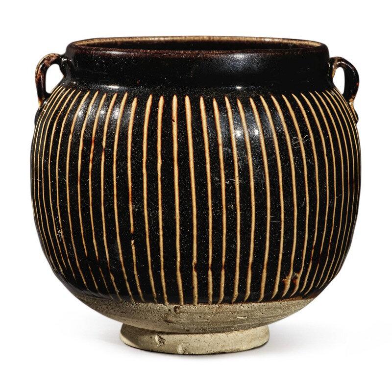 A black-glazed 'ribbed' handled jar, Northern Song-Jin dynasty (960-1234)