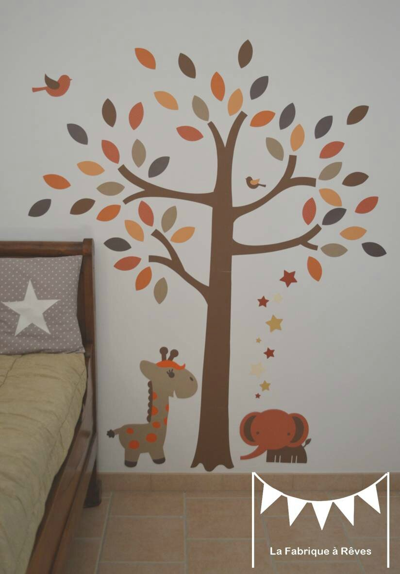 stickers arbre savane l phant girafe orange beige marron chocolat craft d coration chambre. Black Bedroom Furniture Sets. Home Design Ideas