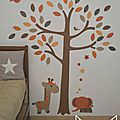 stickers arbre savane éléphant girafe orange beige marron chocolat craft - décoration chambre bébé enfant garçon savane éléphant girafe orange beige marron chocolat craft