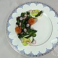 Oeufs mimosa aux asperges en salade