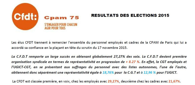 RESULTATS DES ELECTION 2015 CPAM DE PARIS 1