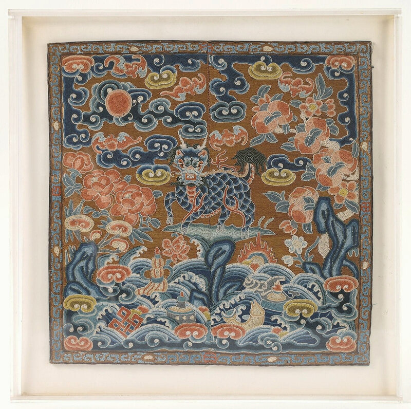 chinese_embroidered_silk_rank_badge_with_qilin_qing_dynasty___606_1