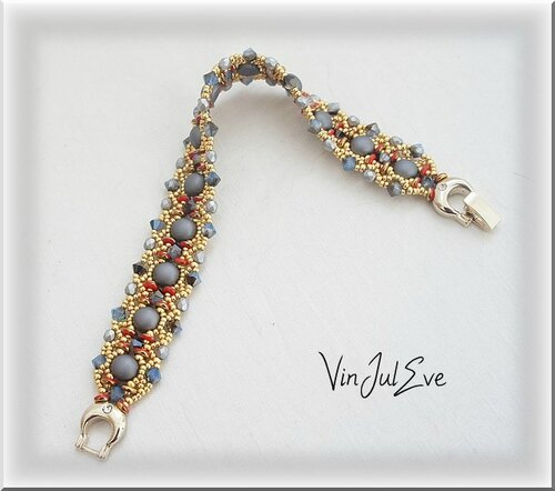 bracelet Valletta rouge gris or
