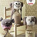 Trois bonnets pour bébé : une souris, un petit chien et un singe!