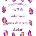 Promo 15 % de réduction