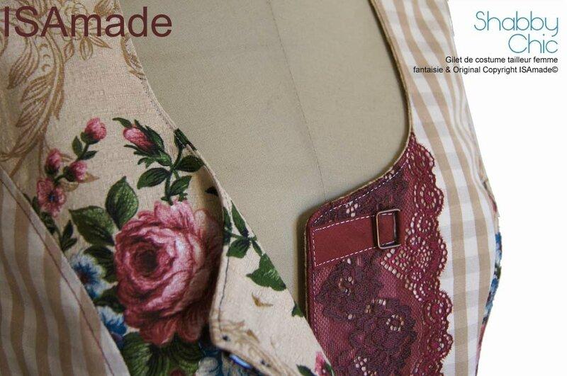 Gilet sans manches femme tailleur fantaisie Shabby Chic fleurs vichy dentelle beige Bordeaux mod 06D copier