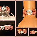 Bracelet macramé rose et strass cristal - réf. Br 0118