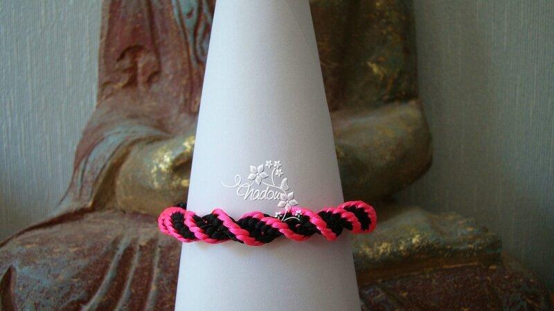 bracelet kumihimo swirl fluo