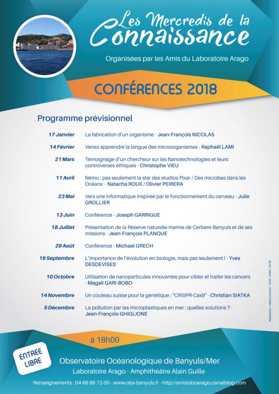 Programme prévisonnel conférences 2018 Amis du Laboratoire Arago