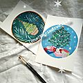 illustrations petits sapins de Noël rétro - créations ©Marimerveille