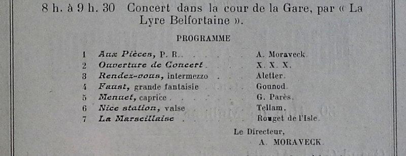 Programme Fêtes Patriotiques 15 août Lyre Belfortaine