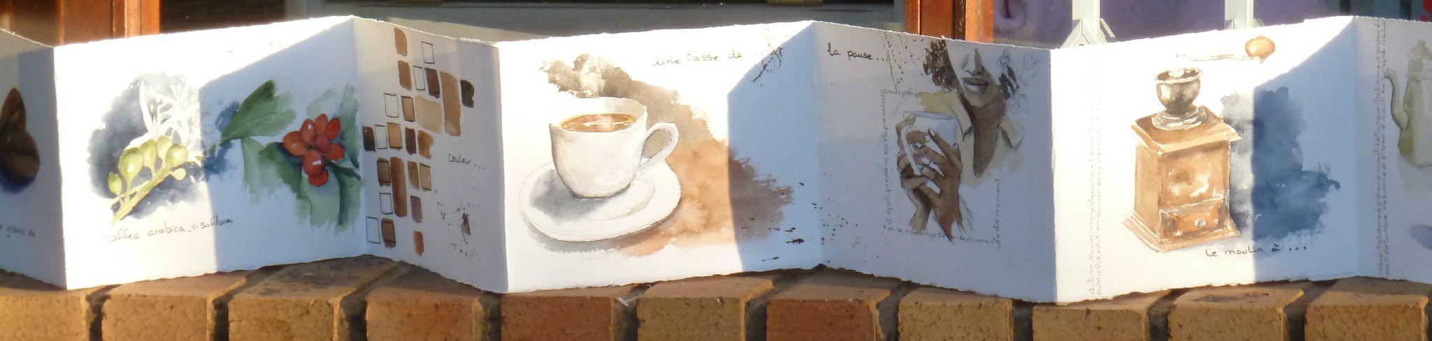 café, carnet déplié