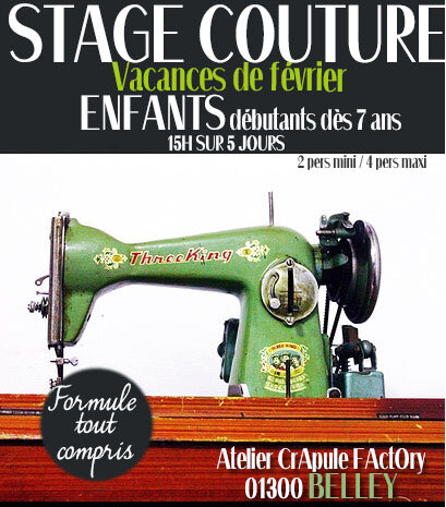 COURS stage COUture vacances FEVRIER 2019